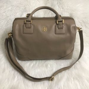 Tory Burch Large Robinson Satchel Taupe